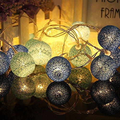 Couleur Rotin Billes Guirlande Lumineuse, Chickwin Noël & Party Guirlandes Décoration 20LEDs Lanternes Forme Série De Lampe 2.2m/2.5m Long Belle Décoration (Boule de coton bleu)