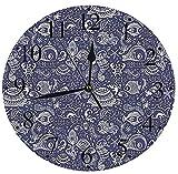 NIUMM Reloj De Pared Silencioso Submarino Océano Animales Conchas Plantas Caballito De Mar Tortuga Pesca Tema Reloj De Pared
