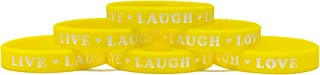 TheAwristocrat 6 Pack Live Laugh Love with Hearts Inspirational Silicone Wristband Rubber Bracelet
