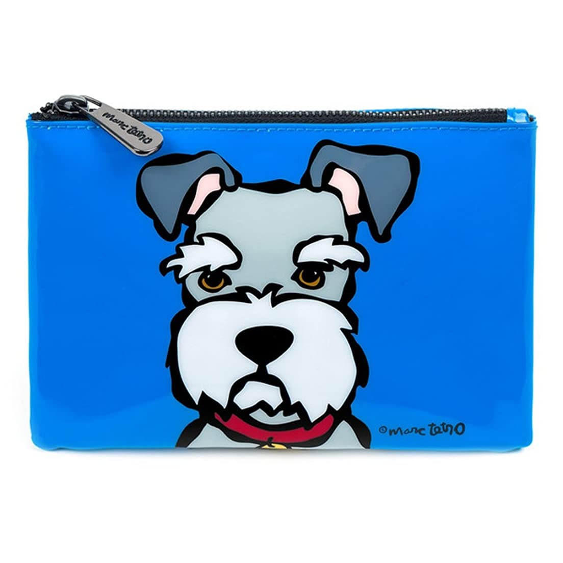 シュナウザー コスメバッグ 防水PVC ファスナー式 化粧ポーチ 小物入れ 13.5cm x 19cm 犬デザイン ミニバッグ Cosmetic Bag