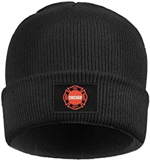 Chicago Fire Department Logo Acrylic Knit Hat Winter Warm Cuffed Thick Windproof Cap Unisex