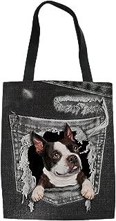 HUGS IDEA Flower Dog Print Linen Tote Bag Shoulder Bag Travel Handbag for Women