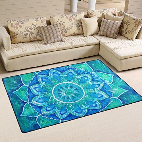 Yochoice Non-slip Area Rugs Home Decor, Vantage Blue Mandala of Vishuddha Chakra Floor Mat Living Room Bedroom Carpets Doormats 60 x 39 inches