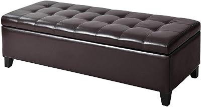 Phenomenal Amazon Com Homcom 51 Faux Leather Unique Tufted Storage Inzonedesignstudio Interior Chair Design Inzonedesignstudiocom