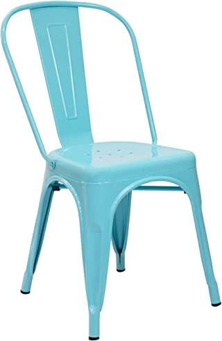 Vaukura Silla Tolix - Silla Industrial Metálica Brillo (Azul)