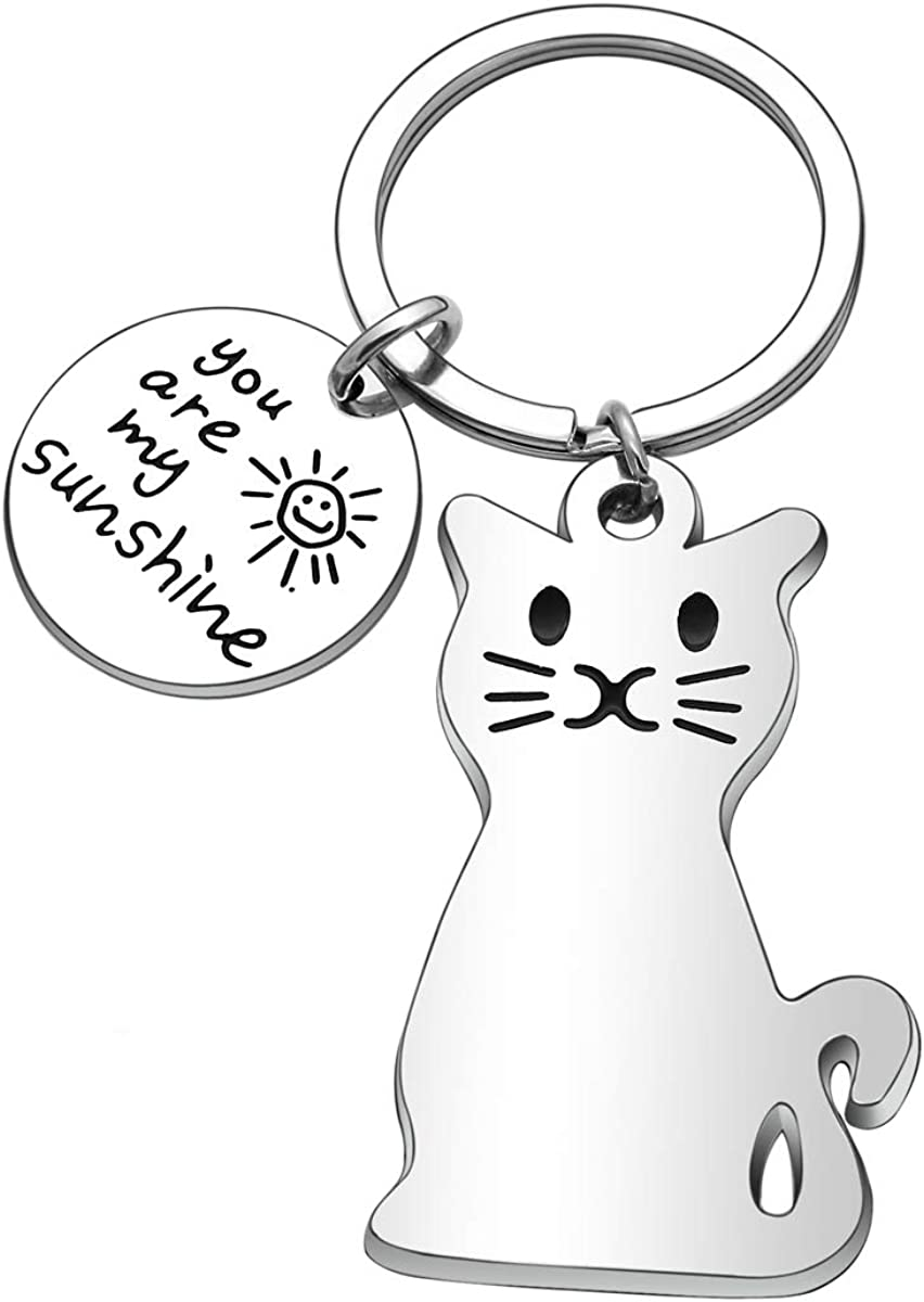 Couples Gifts, Boyfriend Girlfriend Gifts Cat Metal Keychain Keyring Keyfob Key Ring Car Keyring for Daughter Son