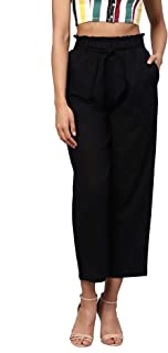 Idalia Women's Black Solid Cotton Trousers