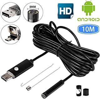 Cámara endoscópica para iPhone – endoscopio USB HugeAuto IP67 impermeable 10 m cámara endoscopio 6 LED Android endoscopio boroscopio cámara de inspección de serpiente – Negro (8 mm)