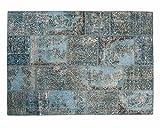 Sukhi Belinay Turquesa Patchwork Alfombras Comprar en línea Hecho a Mano de Anatolia Liquidación (200cm x 300cm / 6' 6.7'' x 9' 10.1'')
