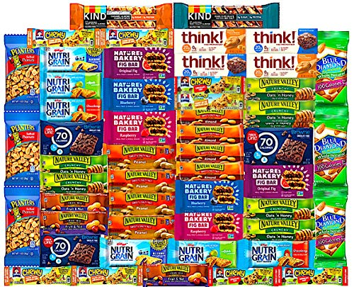Ultimate Healthy Snacks Bars and Nuts Variety Pack Gift Snack Box - Bulk Sampler (Care Package 53 Count)