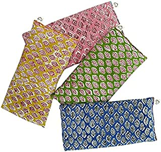 Scented Eye Pillows - Pack of (4) - Soft Cotton 4 x 8.5 - Organic Lavender Flax Seed - Hand Block Print India - Leaf Blue Yellow Pink Green