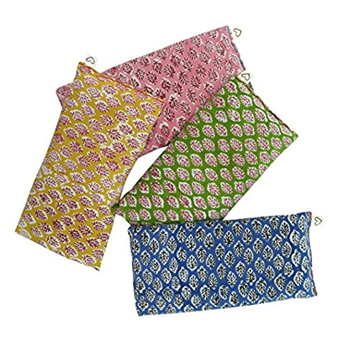 Peacegoods Scented Eye Pillows - Pack of (4) - Soft Cotton 4 x 8.5 - Organic Lavender Flax Seed - hand block print India - leaf blue yellow pink green