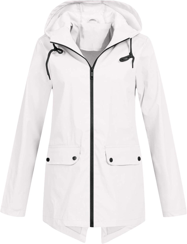 Kcocoo Jackets for Women, Windproof Raincoat Outdoor Hooded Windbreaker Coats Classic Fit Long-Sleeve Full-Zip Soft Jackets