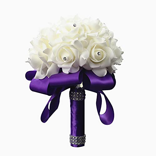 Purple Bouquet For Wedding Amazon Com