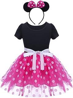 FYMNSI Baby Girls Polka Dots Tulle Spliced Ballet Dress with Bowknot Headband Birthday Party Princess Tutu Dress
