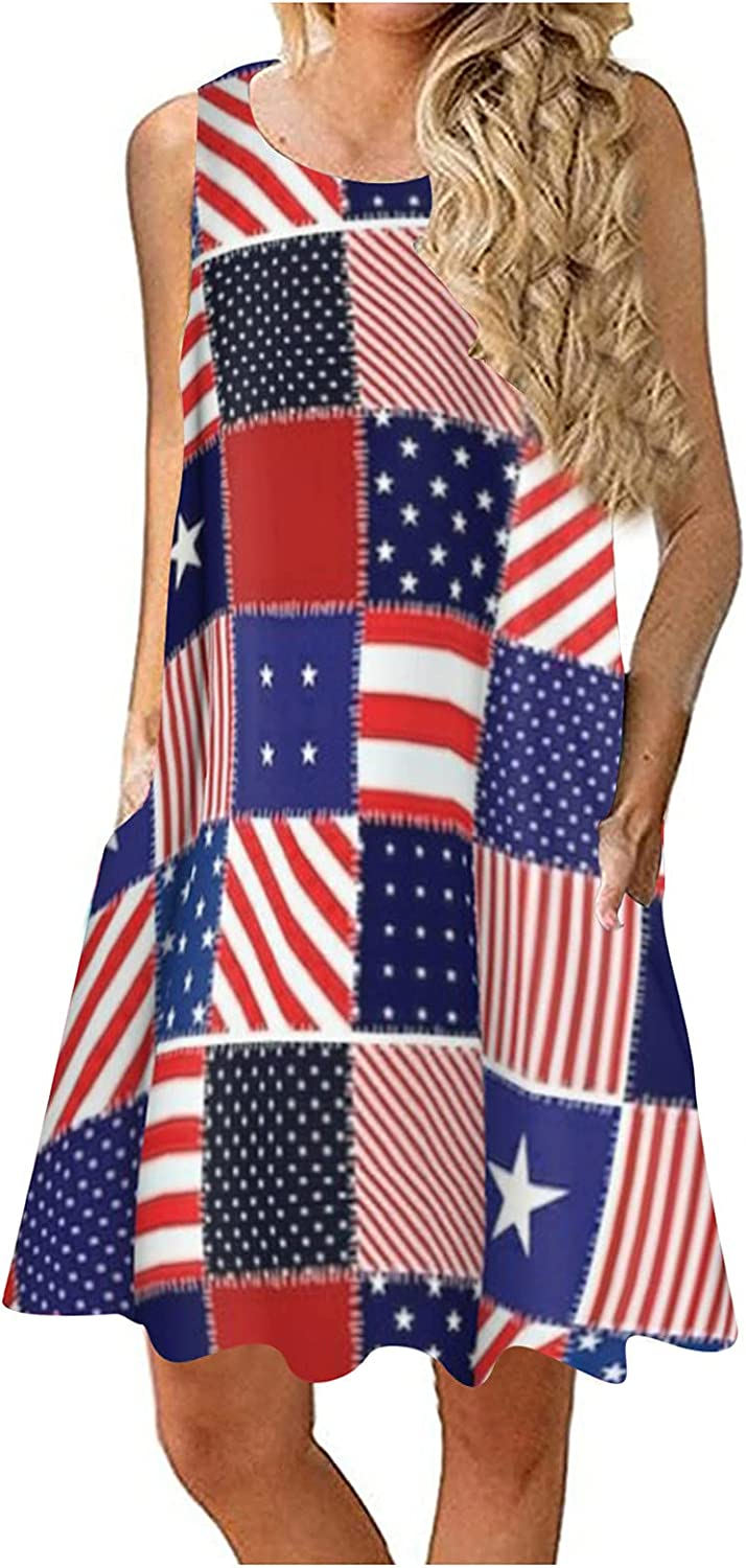 VEKDONE Sun Dresses for Women Summer Sleeveless American Flag Patriotic Dress Casual Loose Beach Tank Dress with Pockets