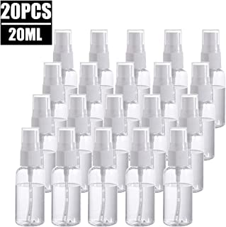 20 Pack Fine Mist Mini Clear 20ml/0.67oz Spray Bottles with Pump Spray Cap,Refillable and Reusable Empty Plastic Bottles for Travel, Cleaning, Essential Oils, Perfume
