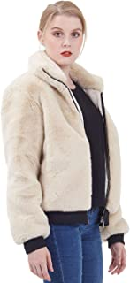 Amandina Luxe Women's Faux Fur Full-Zip Short Coat Ribbed Soft Thick Bomber Jacket
