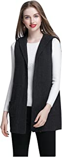 22d3016d47 ELFJOY Women s Sleeveless Cardigan Sweater Vest Open Front Hooded Shawl  Draped with Pockets