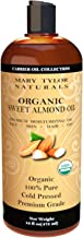 Organic Sweet Almond Oil (16 oz) USDA Organic, Cold Pressed, Hexane Free, 100% Pure, Amazing Moisturizer for Skin Best Car...