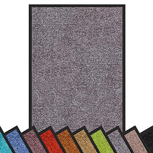 Schmutzfangmatte Rhine | schadstoffgeprüft | waschbare & extra leistungsstarke Fußmatte | Sauberlaufmatte mit Rutschfester Rückseite | Türmatte in vielen Größen & Farben (60x90 cm, Grau)
