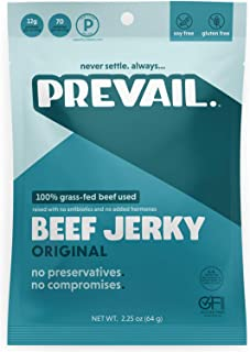 Original Beef Jerky | 3 Pack | Certified Gluten-Free, Keto-Certified, Paleo-Certified, 100% Grass-Fed & Grass-Finished, Low-Carb, Soy-Free, Allergy-Friendly | 12g Protein | Prevail Jerky
