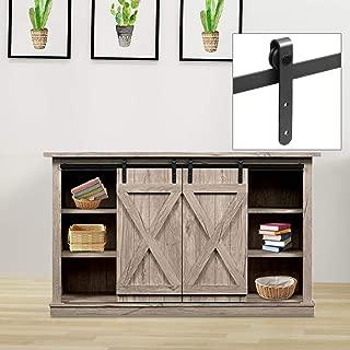 Bonnlo 6.6FT New Super Mini Sliding Barn Door Hardware Kit for Double Cabinet Doors TV Stand Set - Fit 18