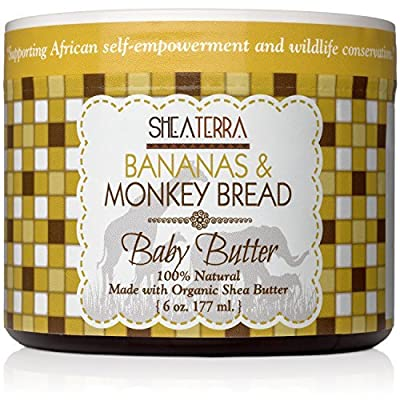 Shea Terra Organics Mama and Baby Collection | Bananas & Monkey Bread Baby Butter | Non Toxic All Natural Emollient with Baobab and Shea Butter for Cradle Cap, Rashes, Diaper Area and Dry Skin – 6oz