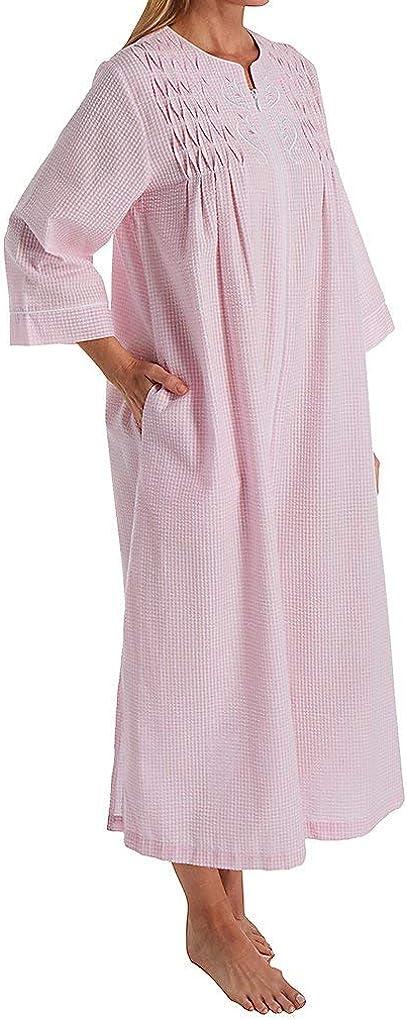 Miss Elaine Women's Seersucker バーゲンセール 春の新作 868649 Long Robe Zip