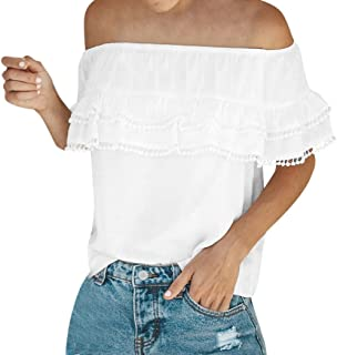 e5891a960e6ab ESAILQ Frau Solides Schulterfrei Layered Chiffon Bluse T-Shirt Tops