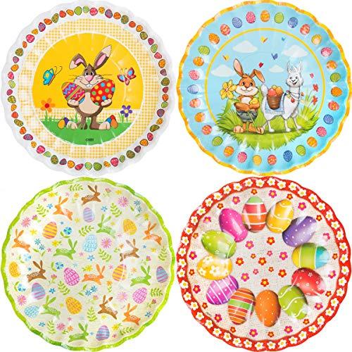 4er Set Osterteller aus Papier/Osternest zum befüllen, Osterneste:Teller - gemischt