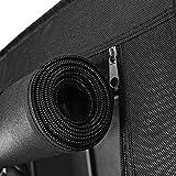 SONGMICS Kleiderschrank, Garderobenschrank mit Gitterablagen aus Eisen, Stoffschrank mit Tür und Kleiderstangen, Aufbewahrungsschrank, Vliesstoff, fürs Schlafzimmer, schwarz RYM34BK - 5