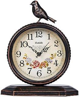 Flower and wood desk clock