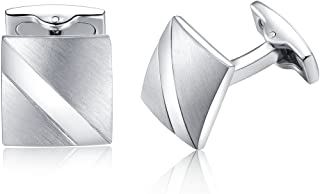 Honey Bear Cufflinks For Men - Plain Silver Square Stainless Steel Business Wedding Gifr Shirt