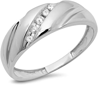 0,10quilates (de quilate) moda Hombre de 5piedra de diamante en 10K oro blanco redondo boda banda 1/10CT
