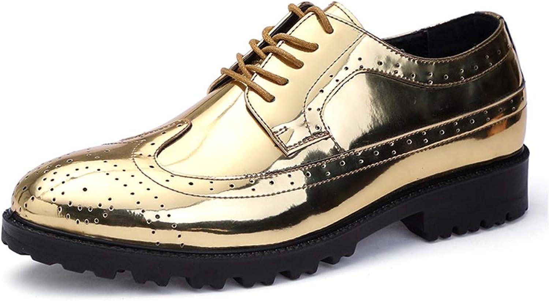 Herren Business Oxford Casual Klassische Schnitzereien Britischen Stil Brogue Lackleder Big Größe Schuhe,Grille Schuhe (Farbe   Gold, Größe   43 EU)    Modisch