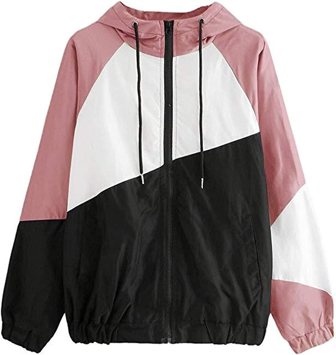 GERsome Women's Sport Coat Long Sleeve Contrast Color Patchwork Thin Skinsuits Hooded Zipper Pockets Sportswear Coat Fashion