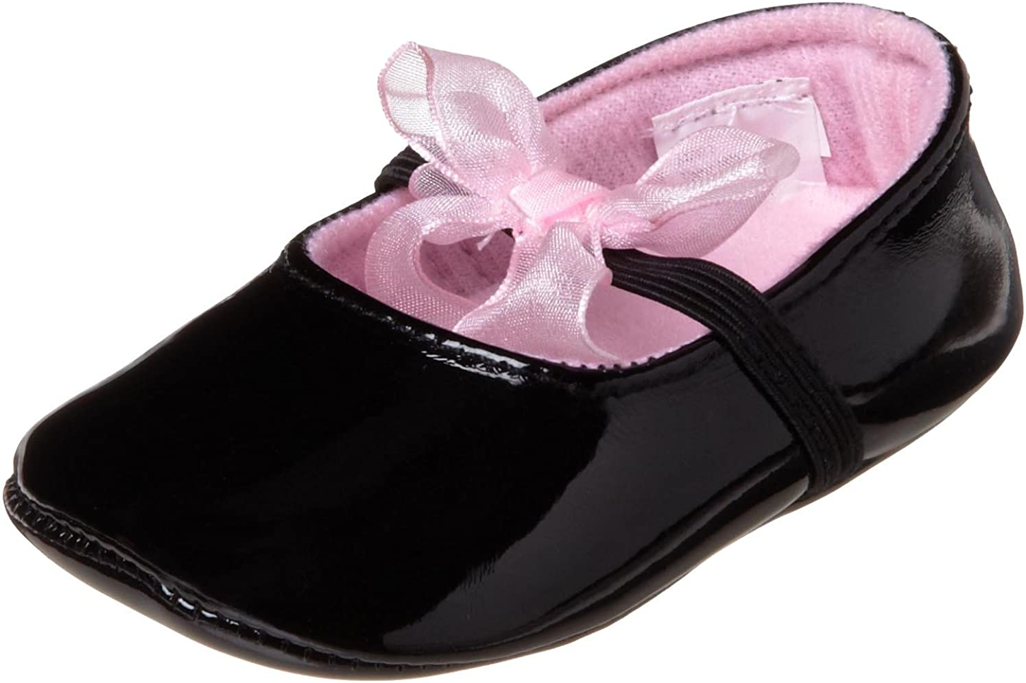 Little Me Baby-Girls Newborn Patent With Sheer Lace Bow Socks