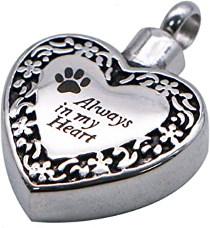 JETEHO Stainless Steel Always in My Heart Pet Dog/Cat Paw Pet Urn Pendant Ash Keppsake Cremation Jewelry Charms Pendant