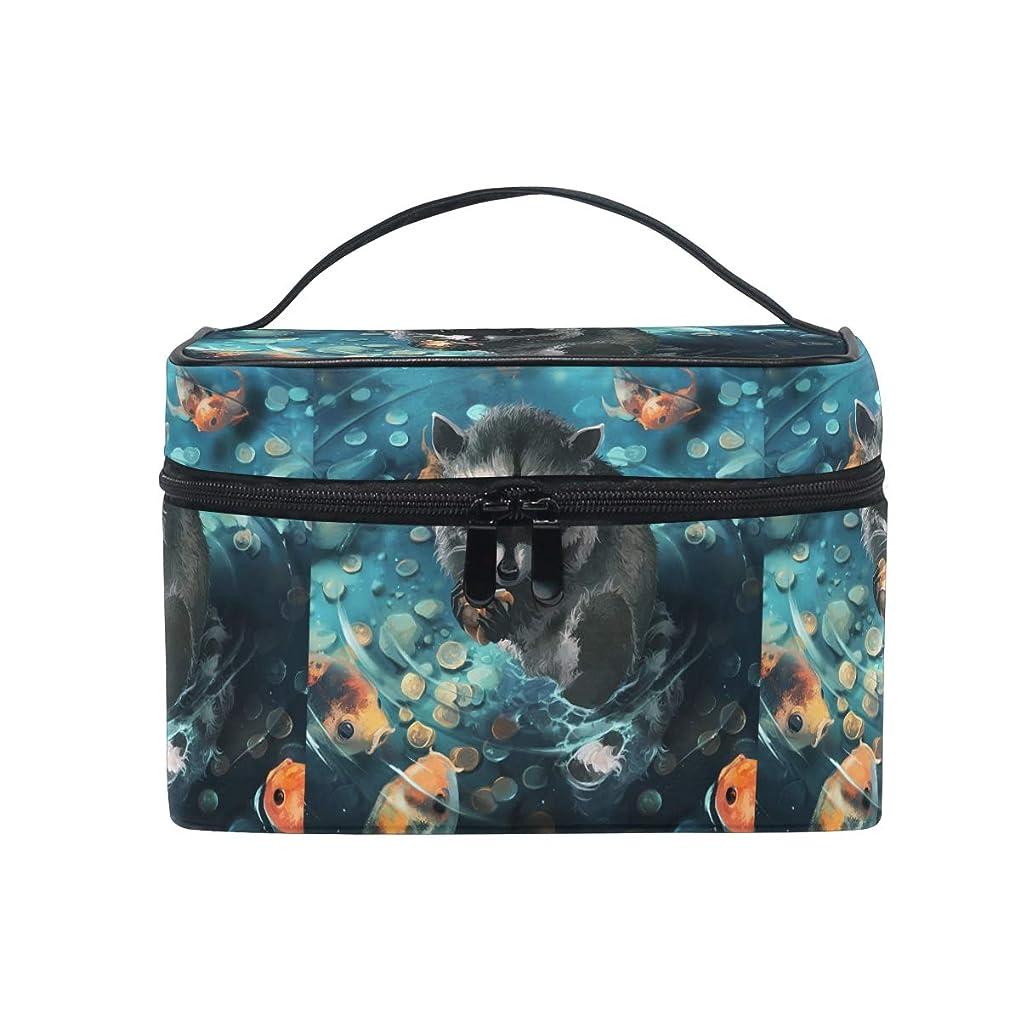 準備手つかずの合意アートアライグマクマ魚メイクバッグ 旅行 メイクボックス バッグ トイレタリー トレイン ケース レディース 美容 化粧ポーチ ポーチ