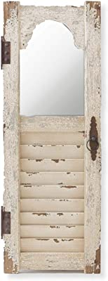 K&K Interiors 13482A 43.5 Inch Distressed White Wood Shutter Panel W/Inset Mirror