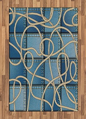 Ambesonne Nautical Area Rug, Various Patches of Denim in Sea with Sailor Knot Rope on Foreground Image Art Print, Flat Woven Accent Rug for Living Room Bedroom Dining Room, 4' X 5.7', Blue
