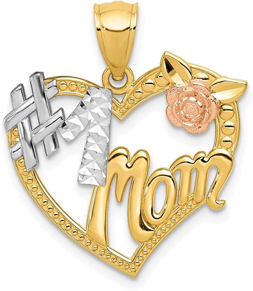San Francisco Mall 14k Two Tone Large discharge sale Gold and Rhodium Plated #1 Pendant Mom Heart