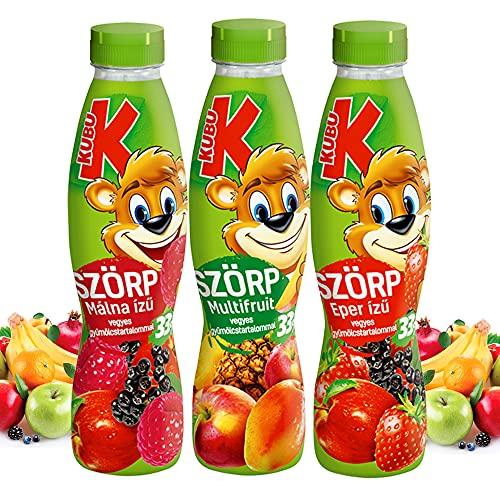KUBU Kinder Fruchtsirup mit Himbeere-Erdbeere-Multifruit Geschmack   33% Fruchtgehalt, frei von Farbstoffen und Konservierungsstoffen   Soda Sirup für Wassersprudler   Bubble Tea Sirup 3 x 700ml