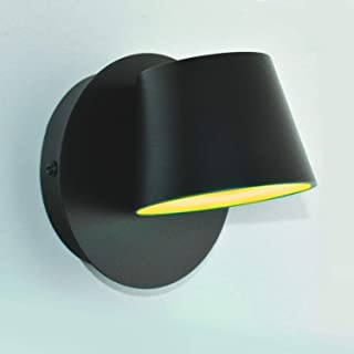 BarcelonaLED Aplique de pared aluminio negro Lámpara Nórdica Moderna Interior con foco luz LED giratorio y orientable 6W Blanco cálido 2700K para dormitorio lectura cabecero