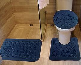 All American Collection 3PC Memory Foam Bath Mats Soft Plush Crown Design Anti-Slip Shower Bathroom Contour Toilet Lid Cov...