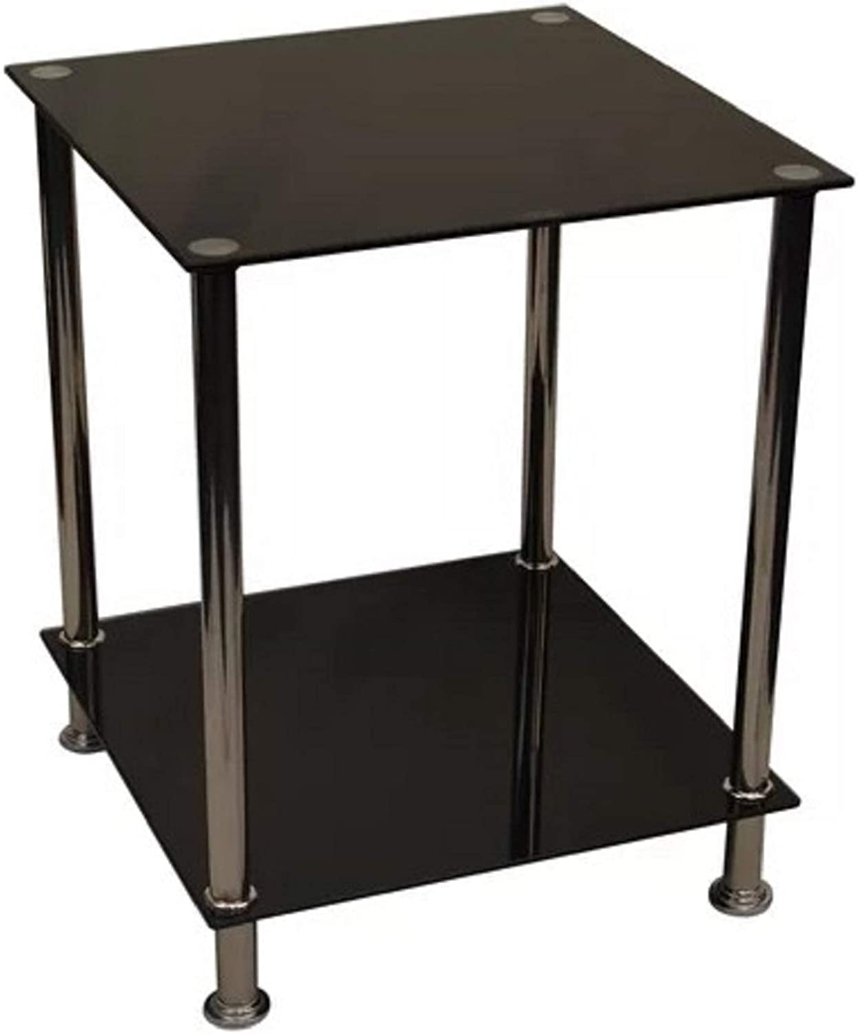 Glass Top End Table. Modern Addition to Any Decor Bavis Glass Top End Table, Measures 19.5'' H x 15.5'' W x 15.5'' D (Black)