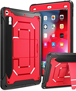 Innens Compatible iPad 9.7 inch 2018/2017 Case, Heavy Duty Armor Defender Anti-Scratch Shockproof Rugged Case with Kickstand and Pencil Holder for iPad 9.7 inch 6th/5th Generation (A-Red)