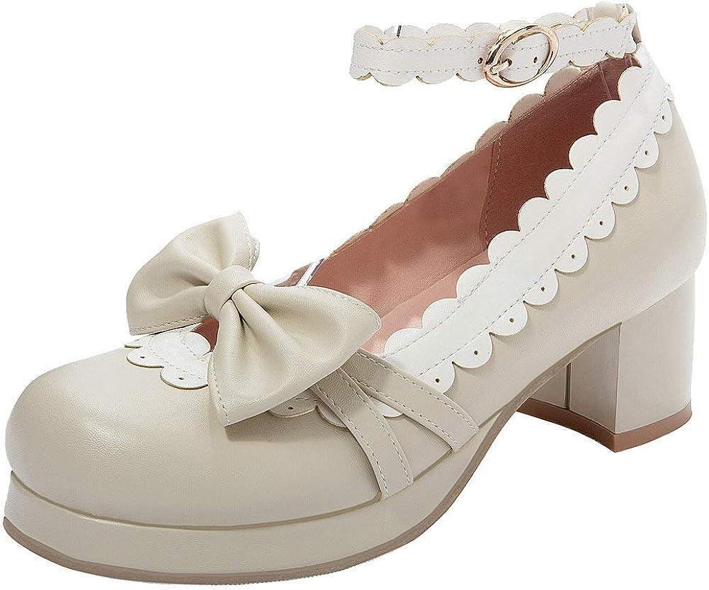 Agodor Milwaukee Mall Women's Cute OFFicial store Lolita Cosplay Chunky Platform Heel An Shoes
