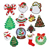 Kentop Patch Broderie Ecusson à Coudre Sticker Motif de noël Père Noël Arbre Appliqué Patch écusson décoratifs Patch Brodé Broderie Appliqués à Coudre pour Vêtements Chapeau 13PCS